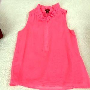 Jcrew hot pink sleeveless ruffled neck blouse